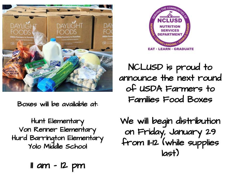 USDA Farmers to Families Food Boxes-January 29th