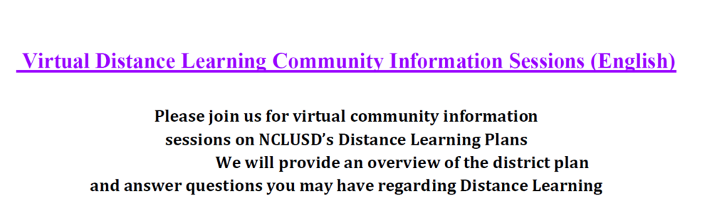 Distance Learning Community Information Sessions