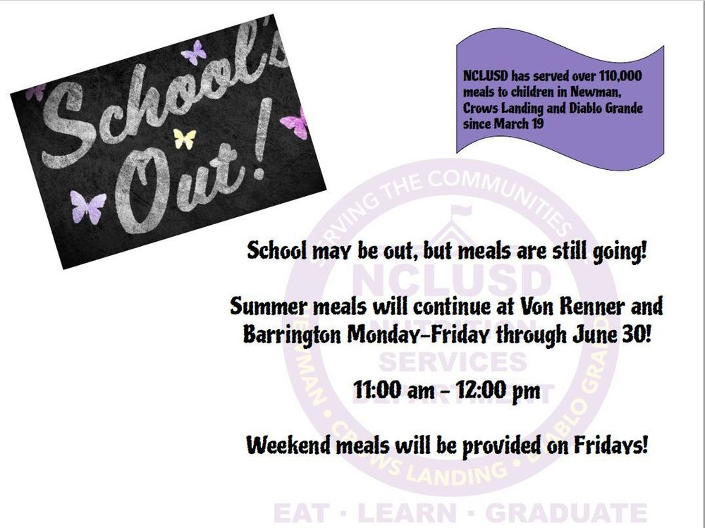 Summer Meals Continue through June 30