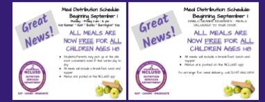 Meal Distribution Schedule Beginning Sept. 1