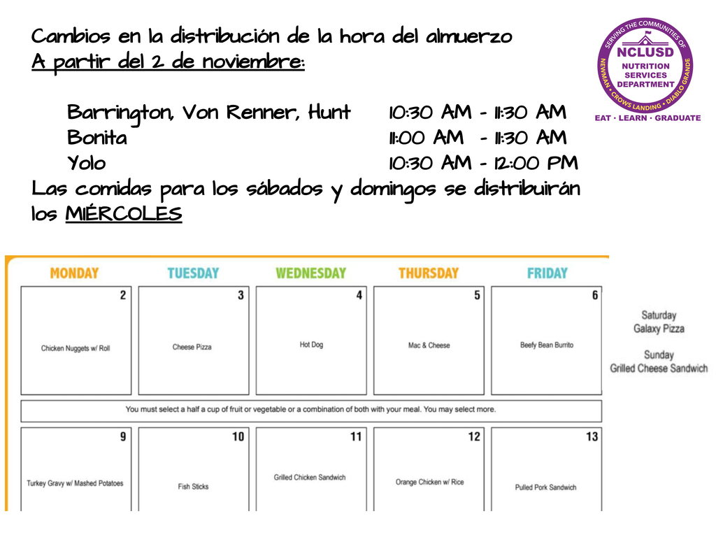 November lunch time distribution changes-Spanish