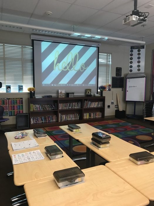 The stage is set for 5th grade presentations.