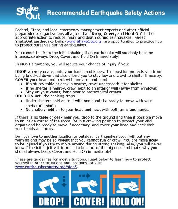 Shake Out Drill Information for Parents