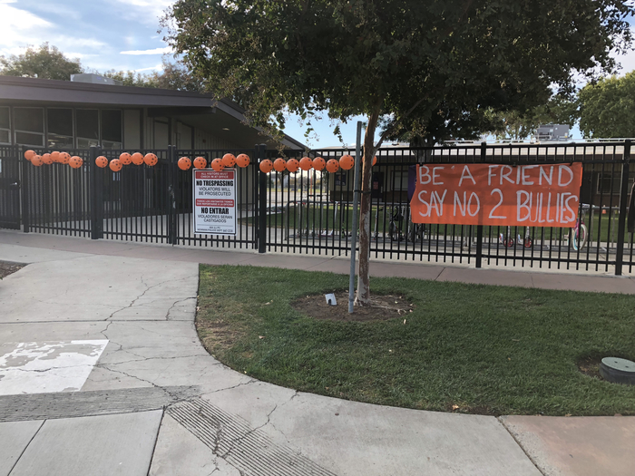 School decorated for Unity Day. Be a Friend day no 2 bullies.