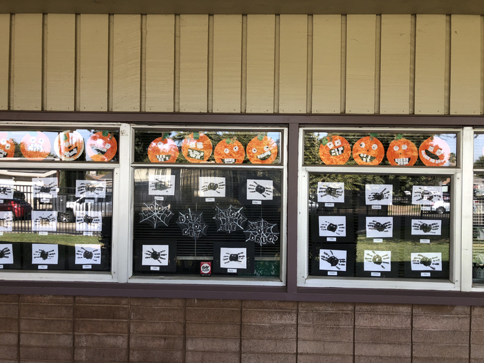 Red ribbon week window display. Don't get caught in drugs.