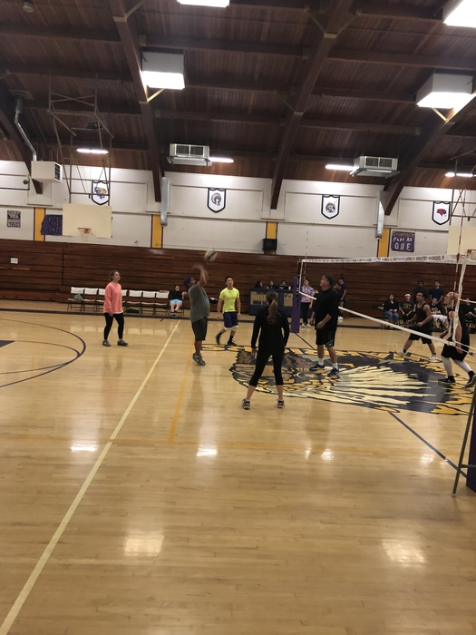 Staff vs Student Volleyball game. Staff takes the lead 2-0 in a best out of 5.