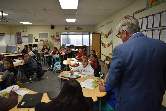 Mr. Fillpot visiting classrooms