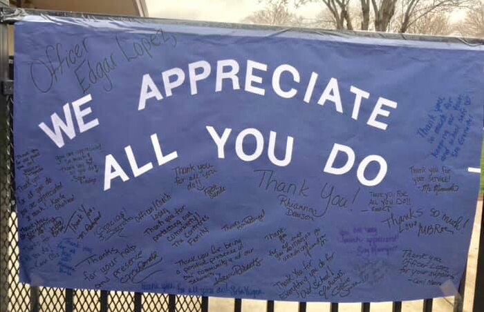 Thank you banner for Officer Lopez
