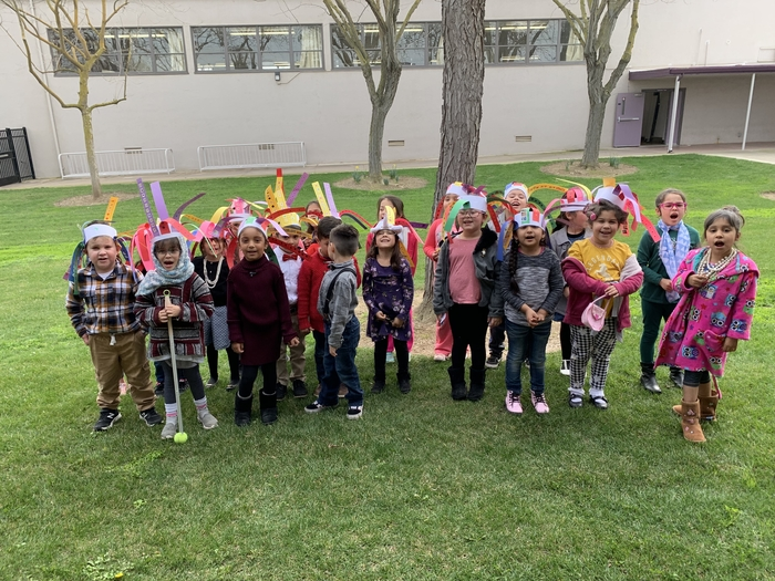 "Kinder students show their ""100 years"" with 100th day hats and 100th day dress up! Happy 100th day!"