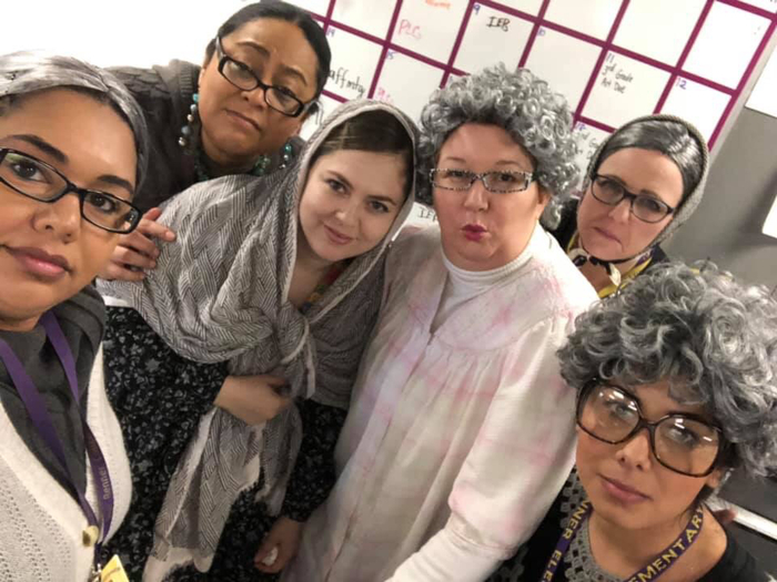 Teachers dressed up for 100th Day Celebration