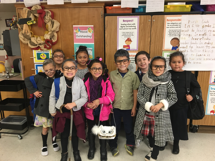 Students dressed up as 100 year olds