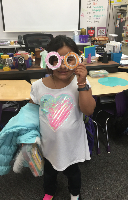 Student with her 100th Day Glasses