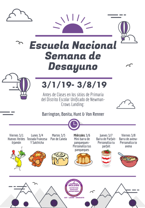 National School Breakfast menu in Spanish