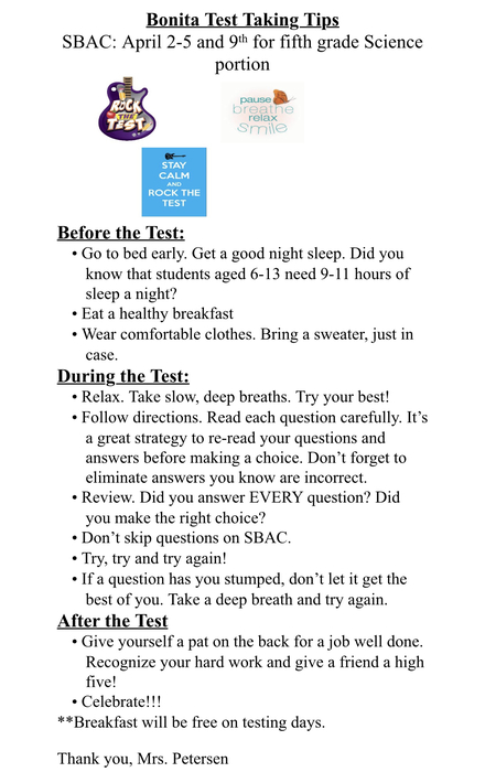 Image of test Taking Tips