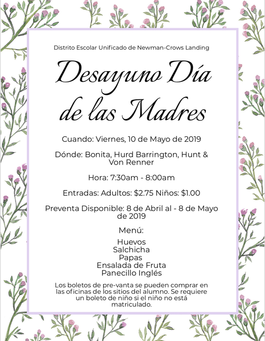 Mother's Day flyer spanish