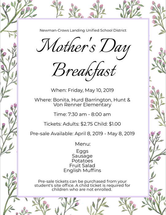 Mother's Day flyer english
