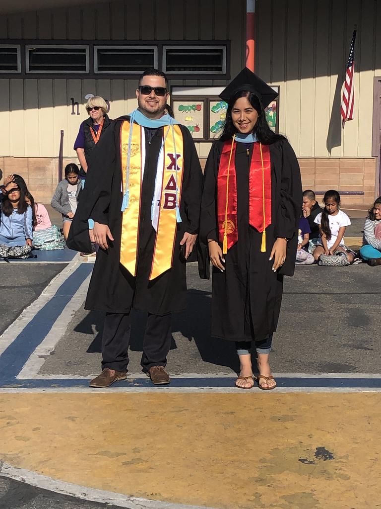 Mr. Eddy & Mrs. Mendoza graduated with their masters yesterday.