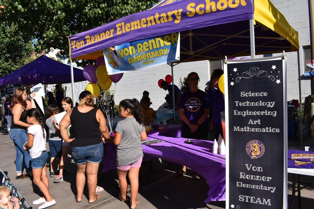 Parents and students at the Von Renner booth