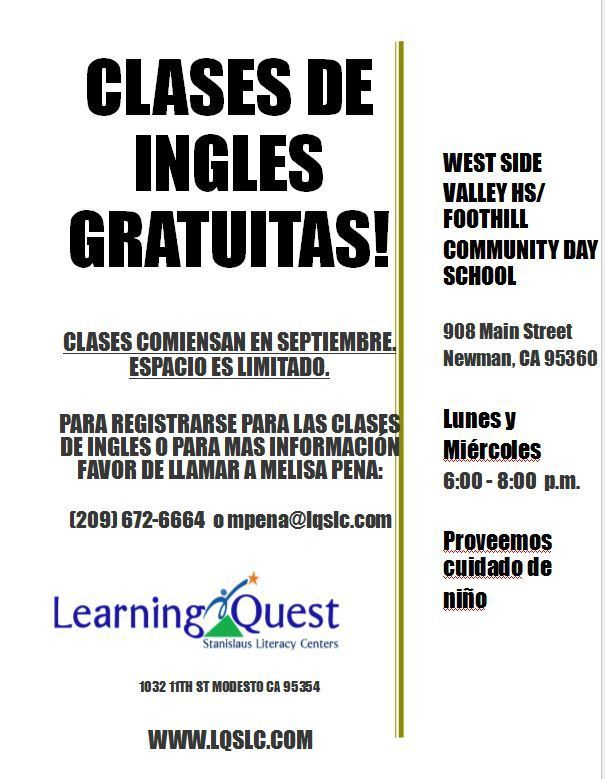 Adult ESL flyer in Spanish