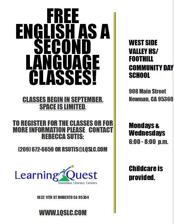 Adult ESL flyer in English