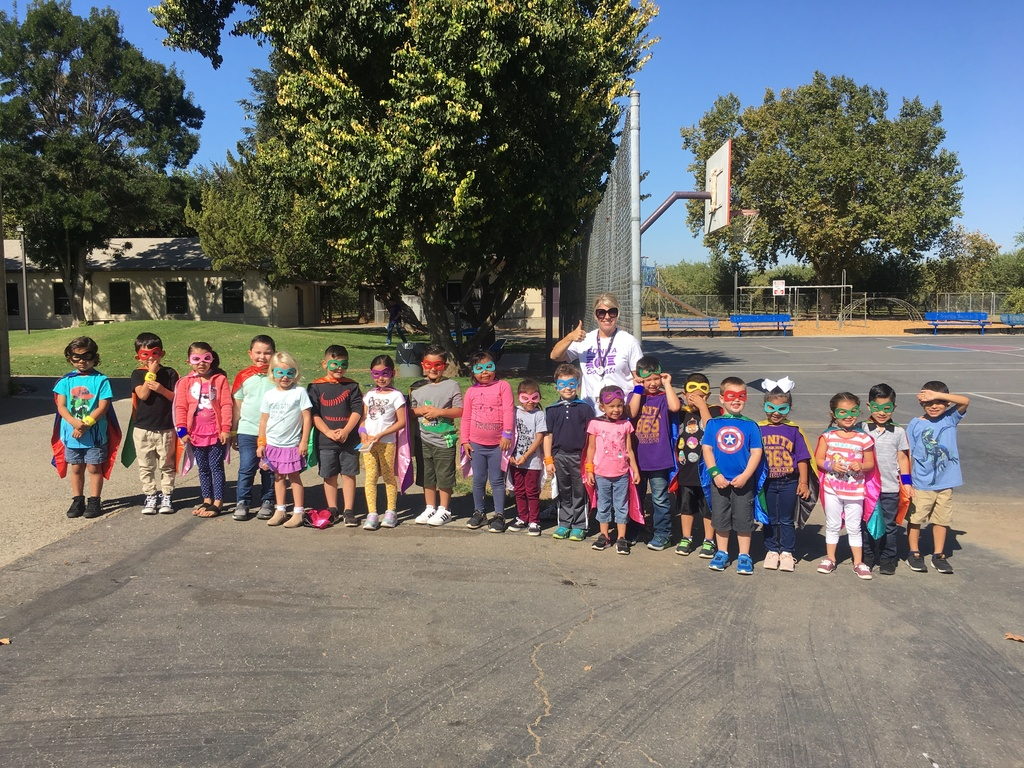 Picture of Kindergarten students dressed as Super Heroes