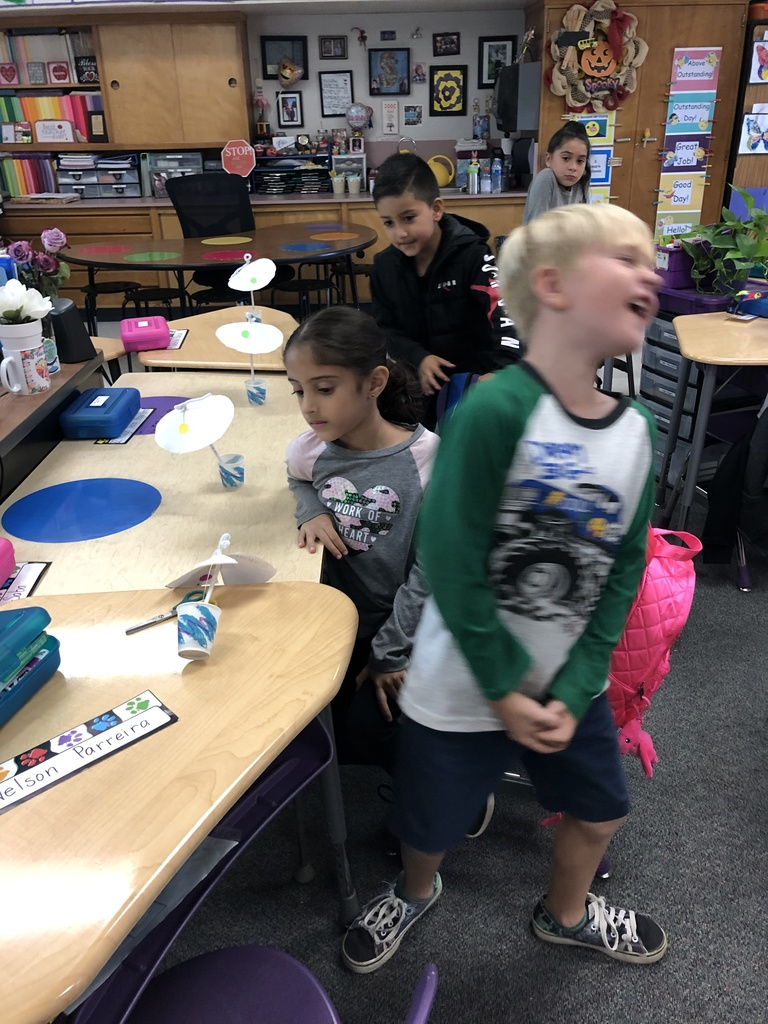 Mrs. Sunde's class is learning why trees don't blow over in the wind. They are investigating making umbrellas and modifying them to mimic what a tree does to not fall over in a wind storm.
