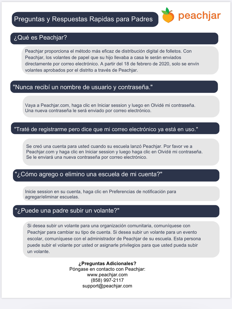 Peachjar FAQ's in Spanish
