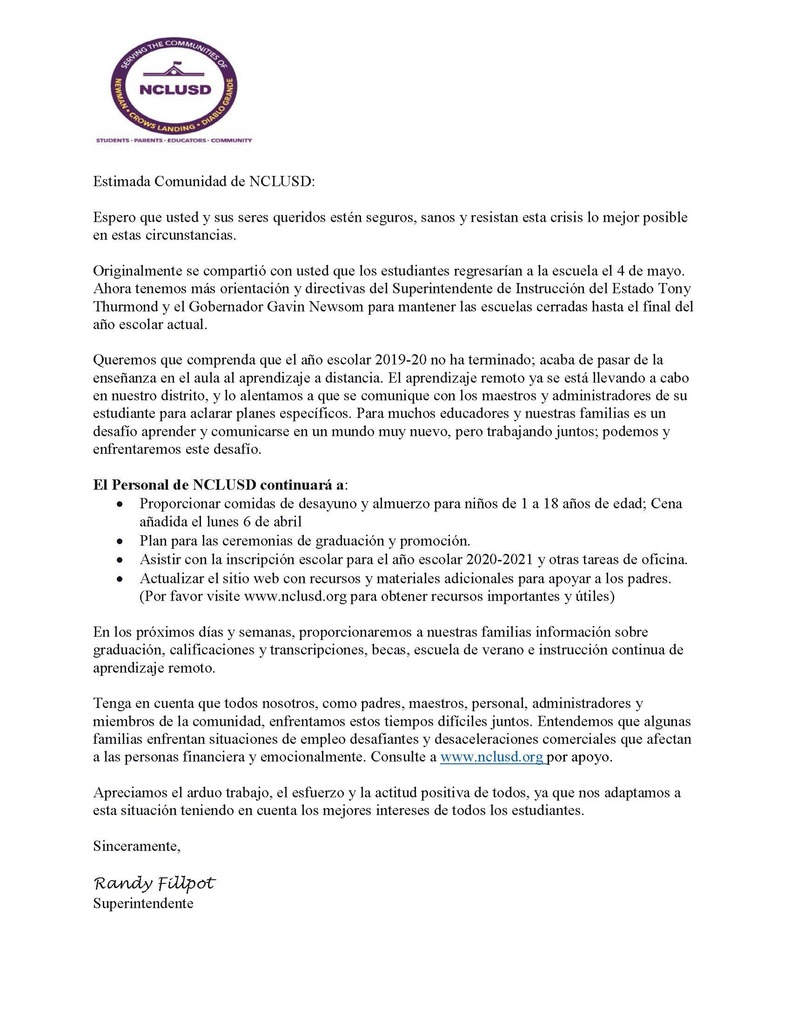 Closure Letter through end of School Year-Spanish