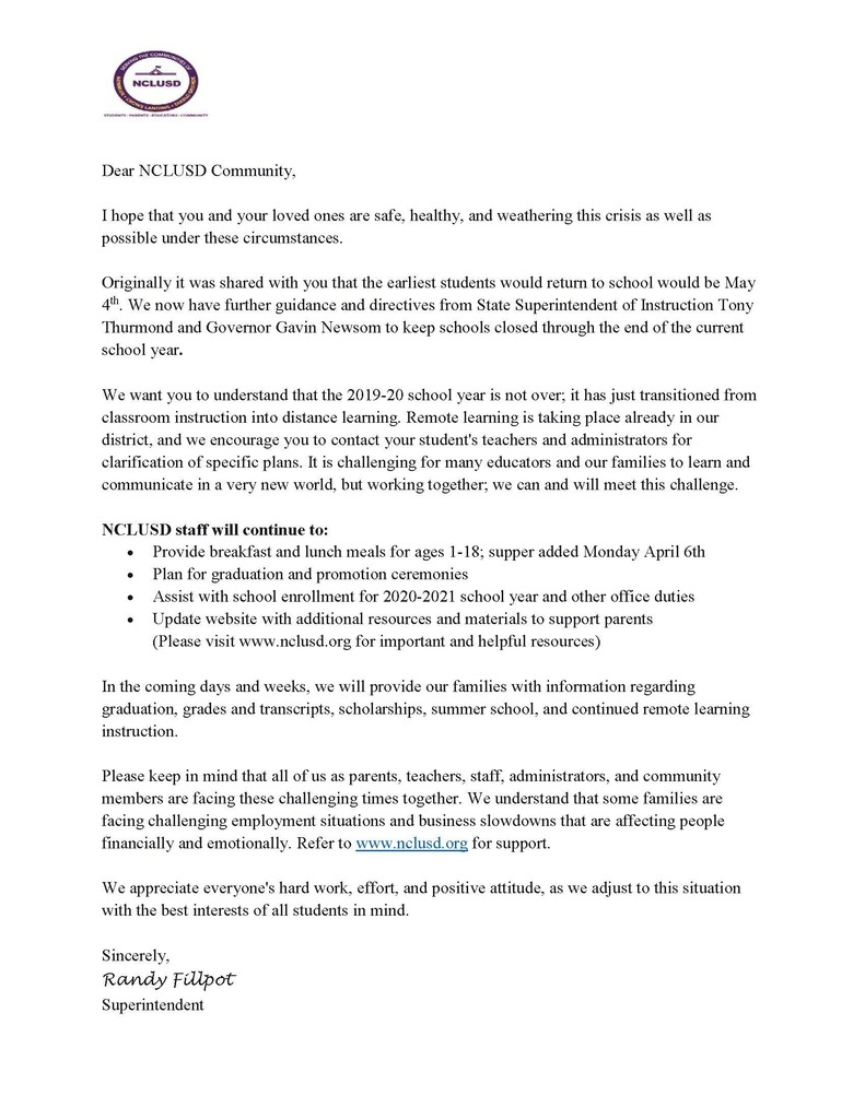 Closure Letter through end of School Year-