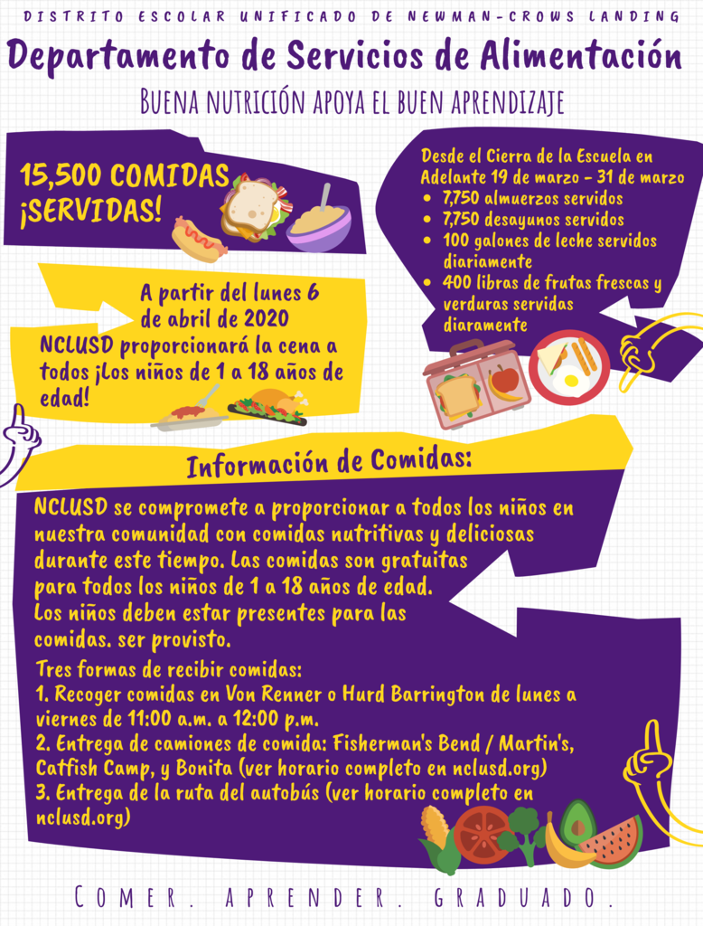 Nutrition Services Flyer in Spanish