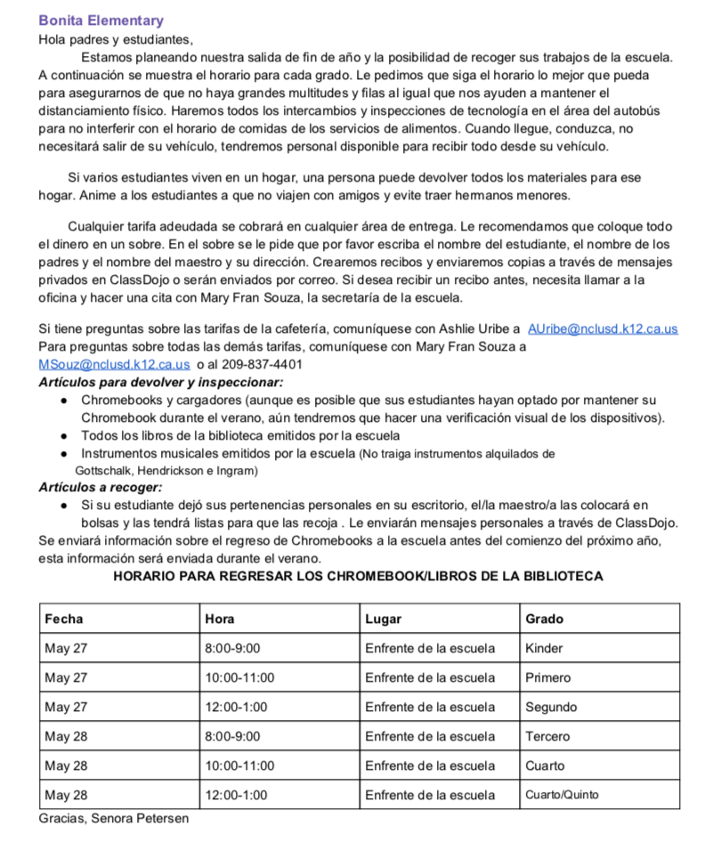image of Student-Parent Check Out letter in Spanish