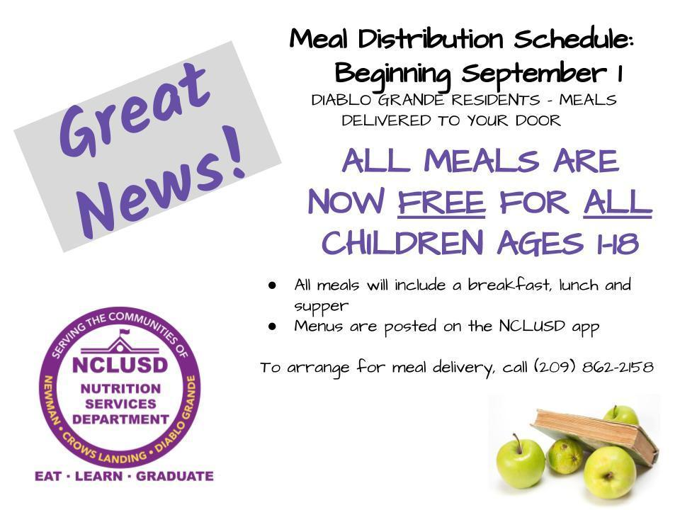 Meals are free for children ages 1-18