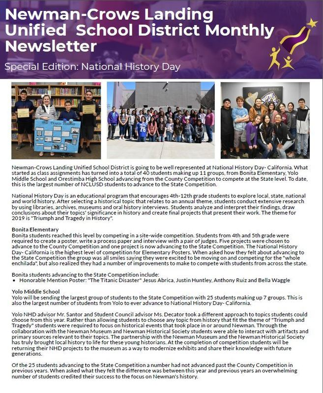 NCLUSD Newsletter - National History Day Edition