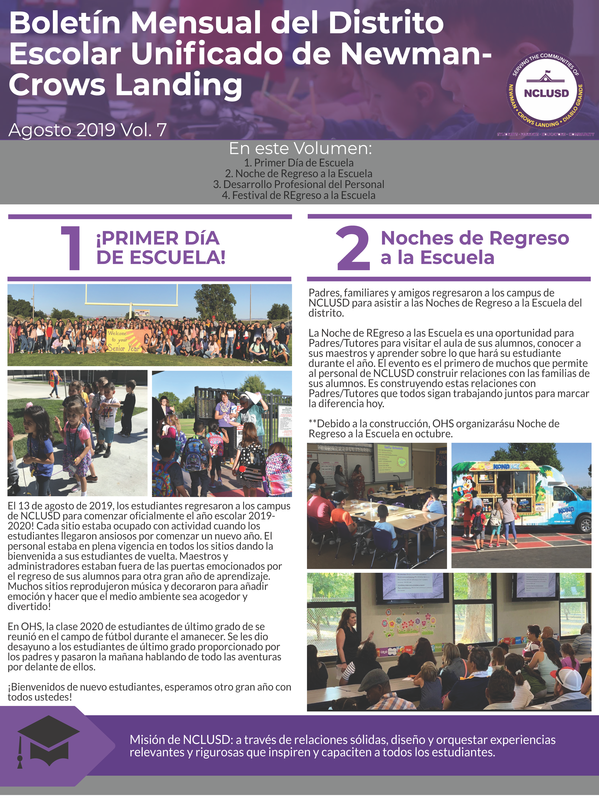 August 2019 Newsletter Link to Spanish PDF