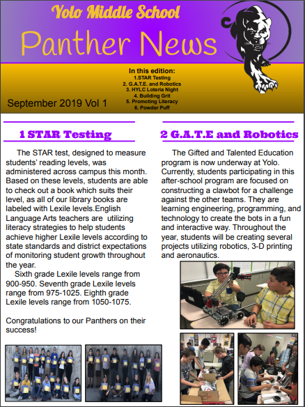 Yolo Panther News Page 1-link to PDF