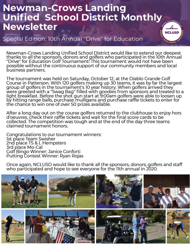 NCLUSD Monthly Newsletter Drive for Education